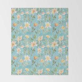 Mint Botanical Pattern Throw Blanket