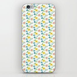 Hand painted pink yellow teal watercolor flowers iPhone Skin