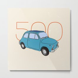 Fiat 500 - Classic Vintage Car Metal Print
