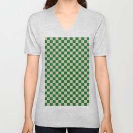 Tan Brown and Cadmium Green Checkerboard Unisex V-Neck