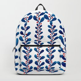 Watercolor blue leaves and red polka dots Backpack
