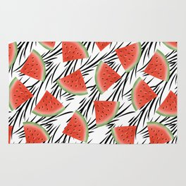 Watermelon slices on white black stripes on the background. Rug