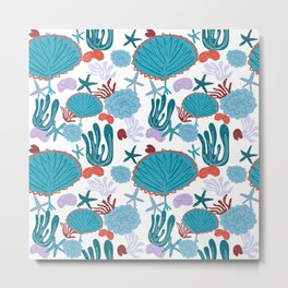 Cute Vibrant Coral Cluster Pattern in Blue Metal Print