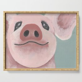 Original Painting - Farm Friends - Baby Pig - Cute Pig Painting Serving Tray