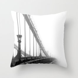 Bridge lost in fog Black and White Throw Pillow