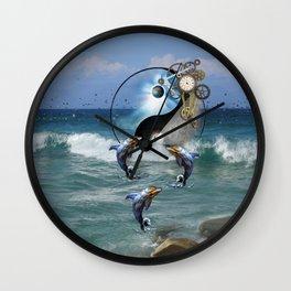 Steampunk Yin-Yang ocean Dolphins Wall Clock