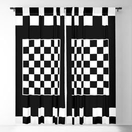 Vintage Chessboard & Checkers - Black & White Blackout Curtain