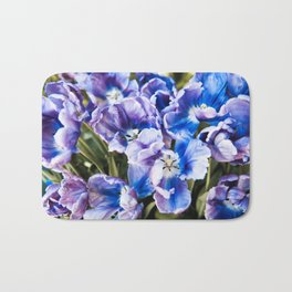 Purple blue tulips blooming abstract Bath Mat