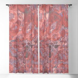 Marble Ruby Blood Red Agate Sheer Curtain