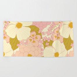 Pink Pastel Vintage Floral Pattern Beach Towel