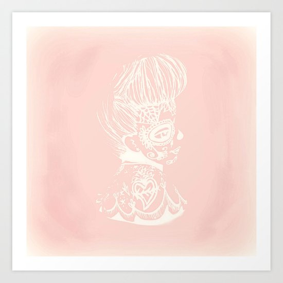 Pinup Day of the Dead Girl - Profile - Pink and White Art Print