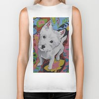 westie Biker Tanks featuring Pop Art Westie Named Poppy by Karren Garces Pet Art