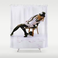 burlesque Shower Curtains featuring Burlesque 1.0 by Jeanette Perlie