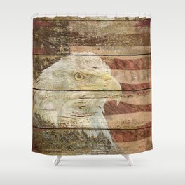 Rustic Bald Eagle Bird American Flag Patriotic Country Art A167 Shower Curtain