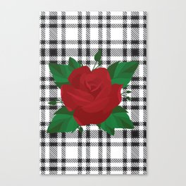 Plaid Rose Canvas Print