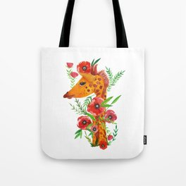 Giraffe with poppies illustration Tote Bag