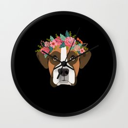 Boxer dog breed with floral crown cute dog gifts pure breed Boxers Wall Clock