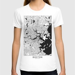Boston Black and White Map T-shirt