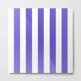 Slate blue - solid color - white vertical lines pattern Metal Print