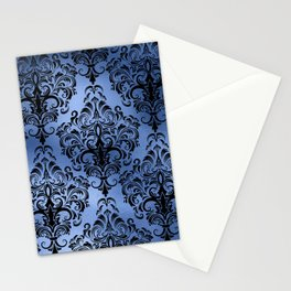 Classic Blue Swirls Damask 10 Stationery Cards