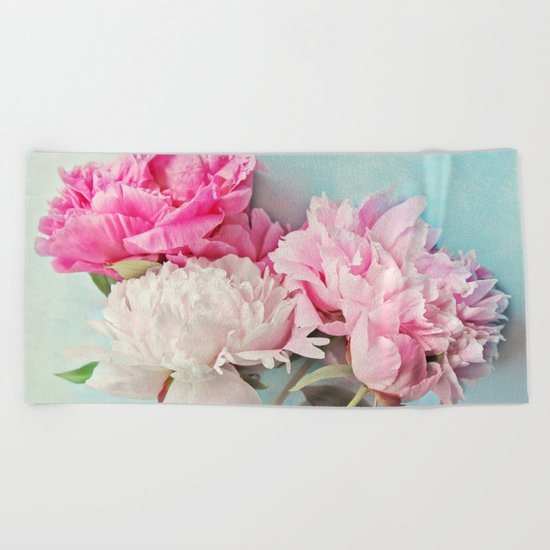 3 peonies Beach Towel