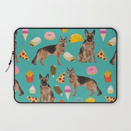 German Shepherd junk food pizza donuts ice cream burrito funny dog art pet portrait Laptop Sleeve