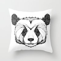 panda Throw Pillows featuring Panda by Andreas Preis