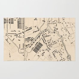 Vintage Map of Lowell MA (1832) Rug