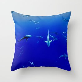Swarm of Sharks (Color) Throw Pillow