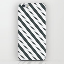 PPG Night Watch Pewter Green  and Dark Green Stripes Angled Lines iPhone Skin