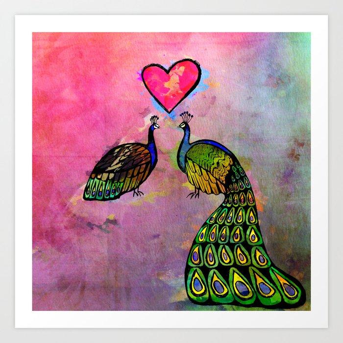 Love Birds Fine Art Print Peacocks Pink Art Print By Walljewelryart Society6