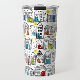 Happy Day in the City // Home Sweet Home in Quirky Neighborhood with Bright Smiling Sun Travel Mug