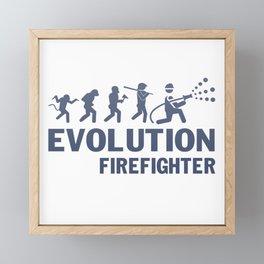 Evolution - Firefighter Framed Mini Art Print