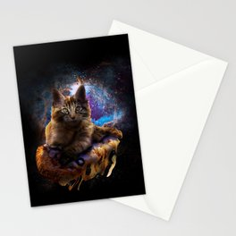 Galaxy Space Maine Coon Cat On Pizza Stationery Cards