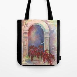 Arch with Bougainvillea Tote Bag