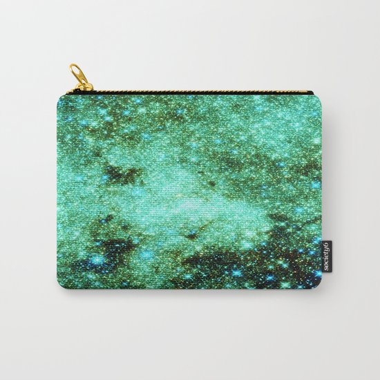 GaLAXY Sparkle Stars : Emerald Green Blue Carry-All Pouch