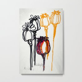Poppy Study Metal Print