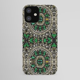 teal silver emerald green rhinestone crystal bohemian pattern iPhone Case
