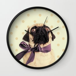 Polka Dot Pug Wall Clock