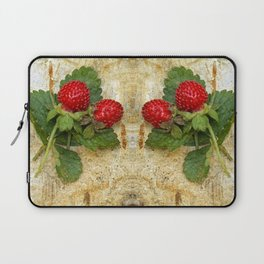 Indian strawberries on birch bark Laptop Sleeve