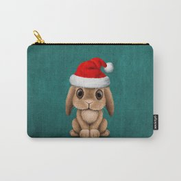 Cute Floppy Eared Baby Bunny Wearing a Santa Hat Blue Carry-All Pouch