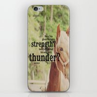 scripture iPhone & iPod Skins featuring Job 39: 19 Horse Scripture by KimberosePhotography