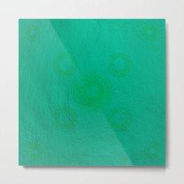 Pata Pattern in Green on Cyan Metal Print