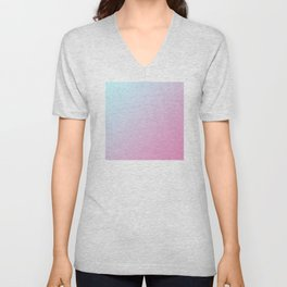 Pastel Light Cyan Blue and Light Pink Gradient Ombré  Unisex V-Neck
