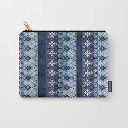 Ethnic blue ornament . Grunge . Carry-All Pouch
