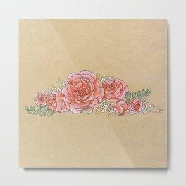 Roses and Baby's Breath II Metal Print