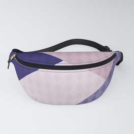 Pink blue patchwork . The combined pattern . Fanny Pack