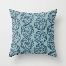 Navy blue lace floral Throw Pillow