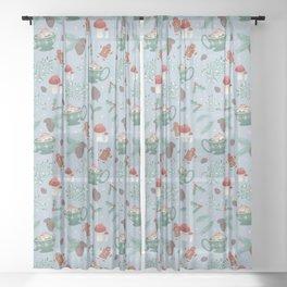 Cottagecore Christmas Blue Sheer Curtain