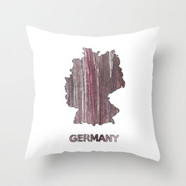 Germany map outline Deep Taupe watercolor Throw Pillow